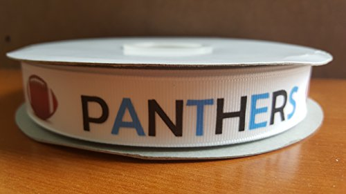 Football Themed Grosgrain Ribbon Perfect for Pop Warner and Youth Leagues (Panthers)]()