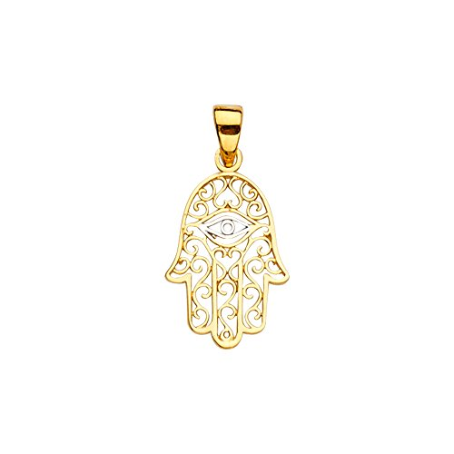 Jewels By Lux 14K White and Yellow Two Tone Gold Hand of God Hamsa Evil Eye Protection Pendant 21mm X 11mm ()