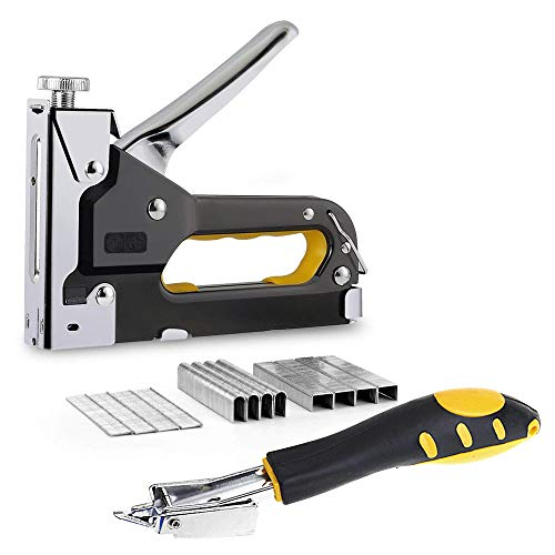 Staple Gun 3 in 1 Heavy Duty with Staple Remover, Hand Operated Stainless Steel Stapler Brad Nail Gun, Upholstery, Decoration, Carpentry, Furniture, Doors And Windows, Billboards, 600 Staples Attached by Amy