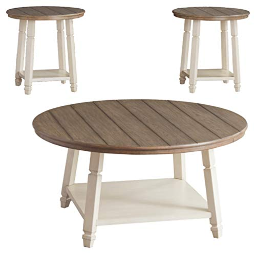 - Ashley Furniture Signature Design - Bolanbrook Occasional Table Set - Set of 3 - Farmhouse - Antique White