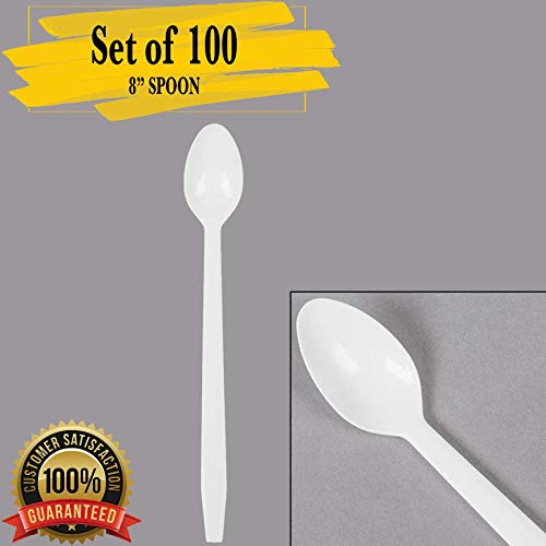 """(MM Foodservice 8"""" Sundae Spoon, Long Disposable Soda Spoon, Set of 100 Spoons (WHITE))"""