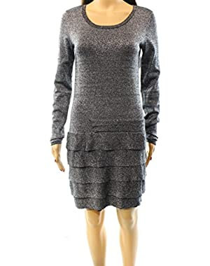 BCBG Max Azria Silver Women's Small Tiered Silk Dress Black S