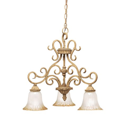 Kichler Lighting 2982GBR Edenvale 3-Light Chandelier, Hand Rubbed Golden Brelee with Inside-Etched Glass and Golden Antique Highlights ()