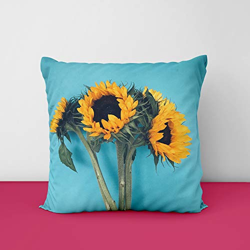 4162Y0X3QEL Sunflower Firozi Square Design Printed Cushion Cover