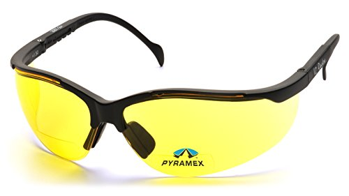 Pyramex Safety SB1830R15 Venture II Readers Black Frame with Amber + 1.5 - Sports Magnification With Sunglasses