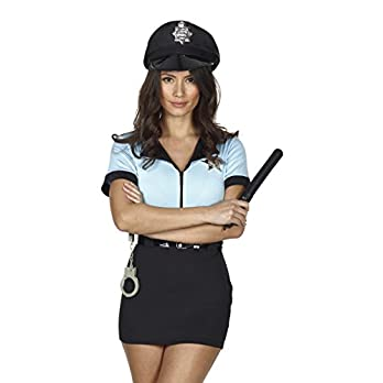 Red Ribbon Lingerie Valentines Gift Police Costume Women Complete Outfit Fancy Dress, with Handcuffs, Belt, hat Size 6-16