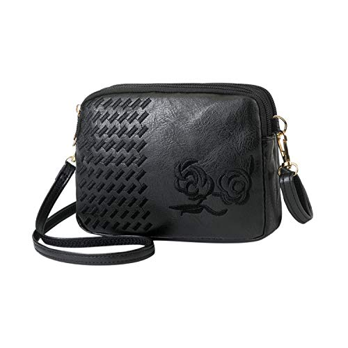 2019 new Women New Wild Zipper Embroidery Messenger Shoulder Bag Portable Solid Zipper bags,Black,United States