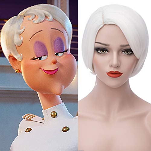 Short White Wigs for Women Cute Bob Cosplay Wig Party Wig for Halloween BU130