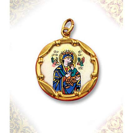 (World Faith 10K 1 Inch Gold Framed Hand Painted Porcelain and Enamel Medal Pendant Depicting Virgin Mary with Bail for wearing on a chain)