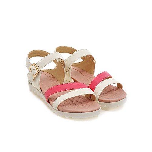 Amoonyfashion Kvinna Mjukt Material Öppen Tå Låga Klackar Spänne Diverse Färgkilar-sandaler Röda