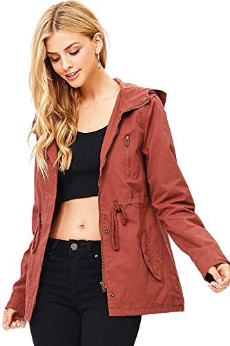 Ambiance Women's Cargo Style Hoodie Jacket (L, Brick)
