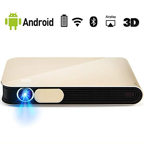 WOWOTO CAN Pro Mini Projector 3D Support1080P Bluit-in Battery 4000 Lumens with WiFi Bluetooth Android OS AirPlay HDMI USB AV Portable Projector with Hard Case, Gold from WOWOTO