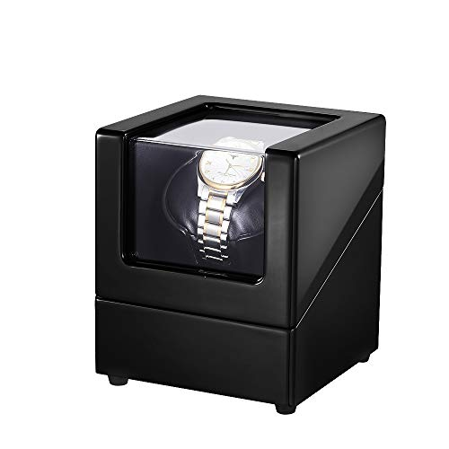 LLS Watch Winder for Automatic Watches with Quiet Motors Piano Paint by AC Adapter or Battery