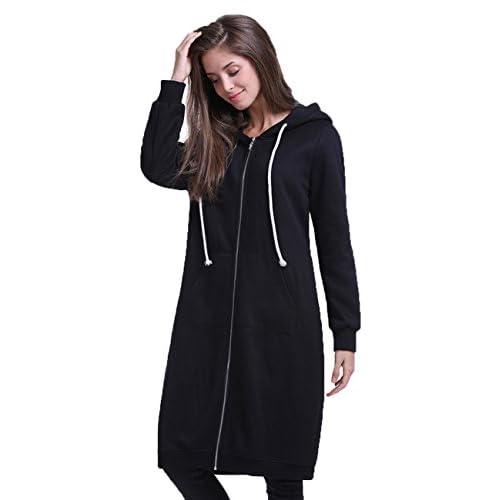 Discount Fancyqube Women's Casual Zip Up Pockets Sweatshirt Oversize Long Hoodie Outerwear Jacket Black L
