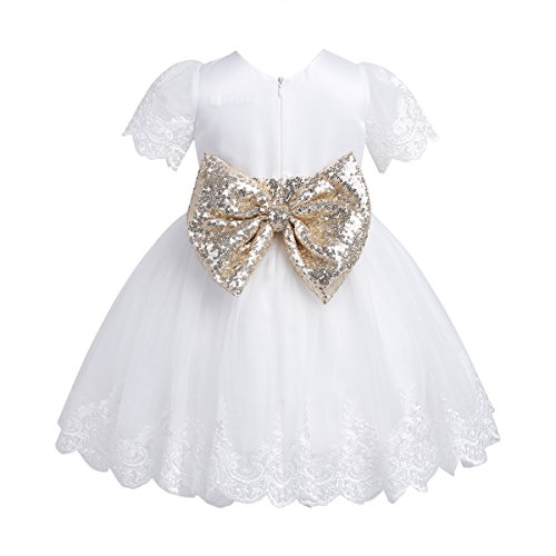 TiaoBug Baby Princess Bowknot Wedding Pageant Communion Baptism Party Flower Girl Dress (6-9 Months, White(Sequined))