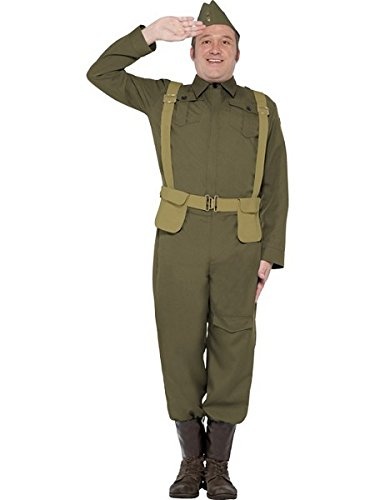 Smiffy's Men's WW2 Home Guard Private Costume, pants Ankle Covers, Jacket, Hat and Harness Belt, Wartime 40's, Serious Fun, Size L, (Girls Ww2 Costume)