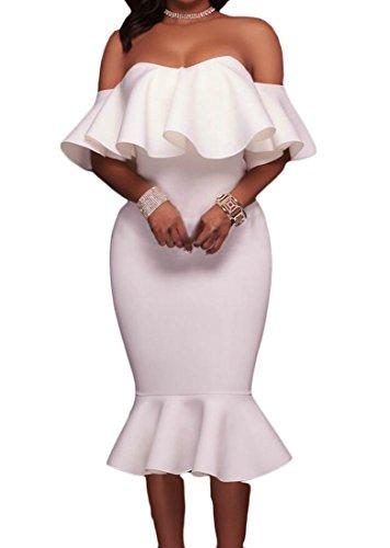 Domple Femmes Soirée Hors Sirène À Volants Épaule Sexy Robe Moulante Midi Blanc