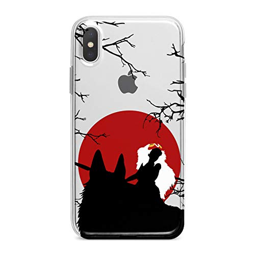 Lex Altern TPU Case for iPhone Apple Xs Max Xr 10 X 8+ 7 6s 6 SE 5s 5 Stylish Mononoke Princess Clear Cover Red Sun Print Protective Nature View -