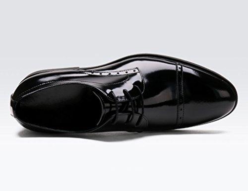 Hombre Rojo Color EU44 Boda Cuero Individuales de Negro Hombres UK8 Ropa Negocios Zapatos de de Encaje Puntiagudo para Formal Clásicos Zapatos Zapatos Tamaño Piel Zapatos de Vino para 5 xwZg1II4q