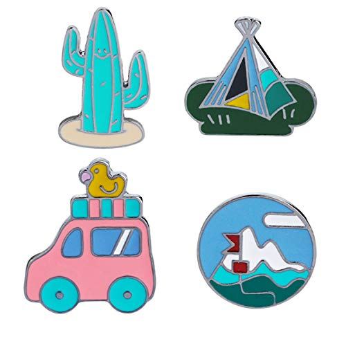 - WINZIK Lapel Pins Set Novelty Cute Cartoon Brooch Badges for Children Adults Clothes Backpacks Decor (Cactus Car Pins Set of 4)