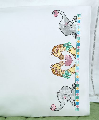 (Jack Dempsey Children's Stamped Pillowcase With White Perle Edge 1/Pkg-Noah's Ark)