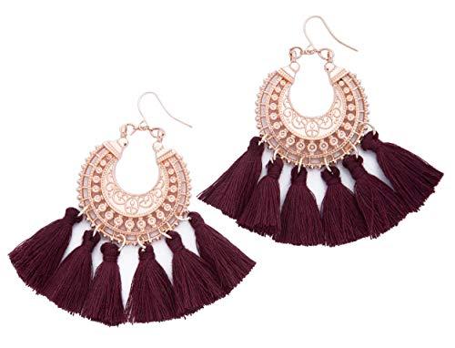 - Rose Gold Tassel Earrings: Maroon fringe gifts for women. Fashion drop dangle tassle earing by BLUSH & CO. (Burgundy)