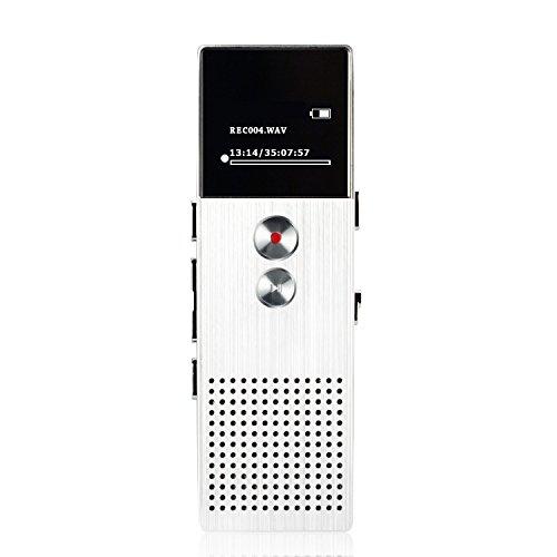 AGPTek M23 8GB Digital Diktiergerät MP3 Player Digitalrecorder Recorder mit Bildschirm, Eingebautem Lautsprecher, Silber