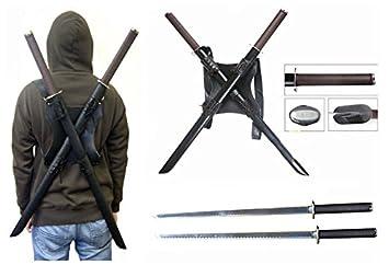 Amazon.com : TWIN Ninja Katana Sword with Leather Back Harness ...