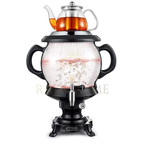 The ORIGINAL RAYA Glass Electric Samovar & Modern Tea Maker, Black  4.5 Ltr/155 oz   Persian Samovar  Russian Samovar   Turkish Samovar