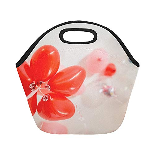 Insulated Neoprene Lunch Bag Balloons Floating Balloons Celebration Helium Large Size Reusable Thermal Thick Lunch Tote Bags For Lunch Boxes For Outdoors,work, Office, School -