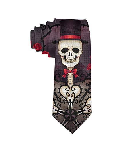 Mexican Sugar Skulls Day Of The Dead Red Roses Formal Tie, Men Neckties Suit Accessories - Fashion Slim Party Suit Neckties]()