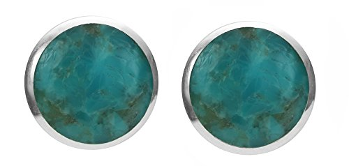 Boma Sterling Silver Turquoise Inlay Circle Stud Earrings