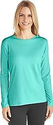 Coolibar UPF 50+ Women\'s Long Sleeve T-Shirt - Sun Protective (Medium- Crisp Aqua)