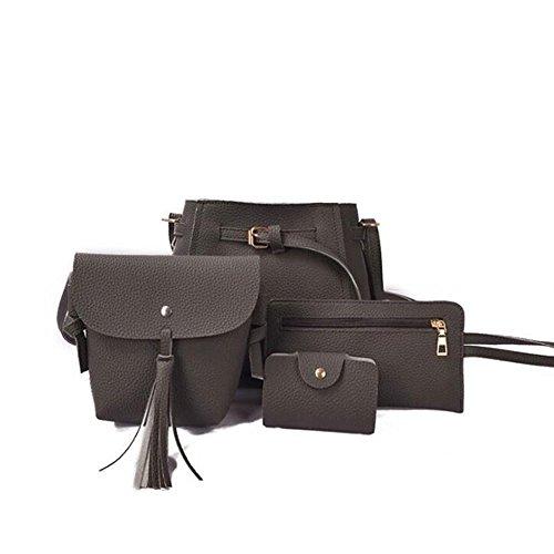 Women Leather Shoulder Bag D Gray Vin Lady Purse Handbag Pu Beauty 4 Elegant Bag Bag Dark Wlgreatsp Pieces fUwUSX0q