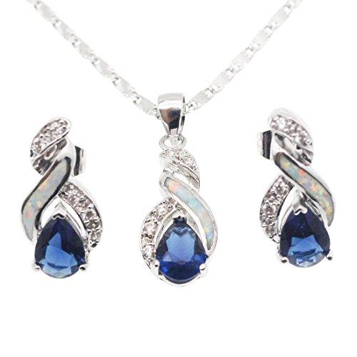Hermosa Jewelry Sets Australian Opal Blue Sapphire Necklace Earrings Christmas Gifts (JS10)