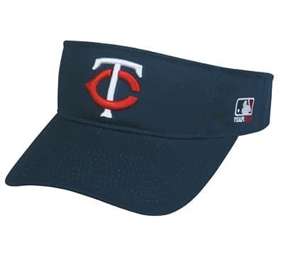 MLB ADULT Minnesota TWINS Home NAVY BLUE VISOR Adjustable Velcro TWILL