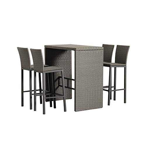 (Patio Time Outdoor Furniture 5 Piece Pub Bar Table Set with 4 Bar Stools Chairs in Wicker PE Rattan Back for Dining (Black))