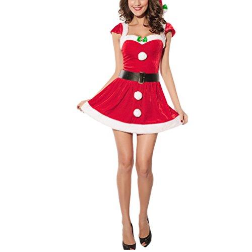 豆腐キャラクター慈善Zhhlaixing 熱い販売 Christmas Theme Gifts for Women Red Short Sleeved Naughty Cosplay Funny Dress Missy Claus Costume