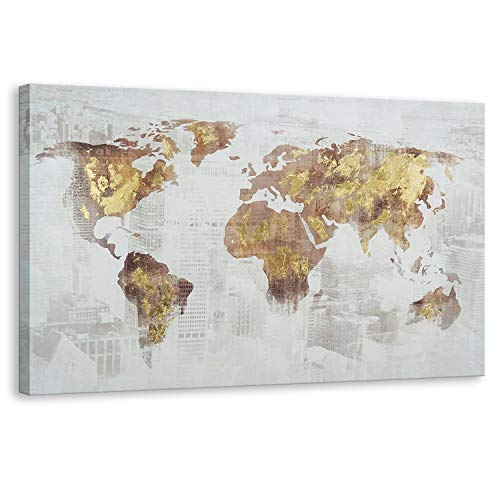 Kas Home Art Modern Abstract Large Gold Foil World Map Canvas Prints Framed Wall Art Wall Paintings Wall Decorations for Living Room Office Wall Decor (24 x 36 Inch, A Framed) (Gold Map Canvas)