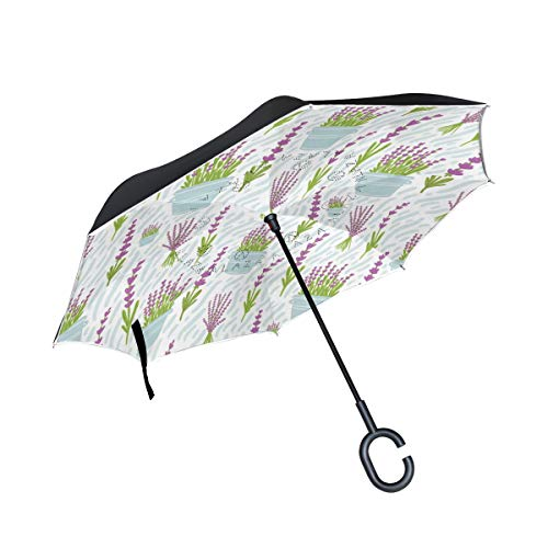 Reverse Umbrella Lavender Flower Inverted Umbrella Reversible for Golf Car Travel Rain Outdoor -