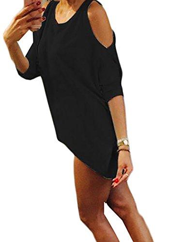 Coolred-femmes Au Large De L'épaule Surdimensionné Manches Courtes Solide Robe T-shirt Multicolore Noir M