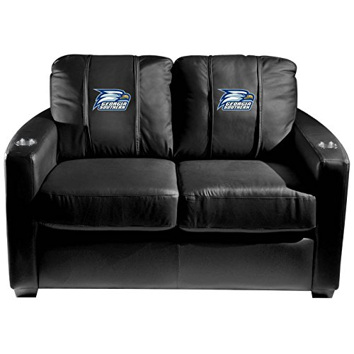 XZipit College Silver Loveseat with Georgia Southern Eagles Logo Panel, Black