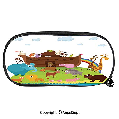 Pattern Pencil Bag Various Safe Animals Two of Every Kind Boarding Noahs Ark Clip Art Design Print for Kids Boys Girls School Students Pencil Case with Zipper Children Pen Bag Pouch HolderMulticolor]()