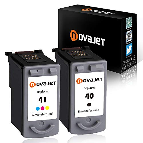 Novajet 2PK Remanufactured Ink Cartridge Replacement for PG-40 CL-41 0615B002 0617B002 Used in Canon PIXMA MP150 160 450 460 MX300 IP1600 1800 2600 Printer 1 Black 1 Tricolor (0615b002 Pg 40 Black Ink)