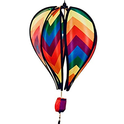 "JS Wind Spinner Hot Air Balloon Herringbone Stripe Deluxe Sun Premium Lawn Garden Twirl Colorful 17"" : Garden & Outdoor"