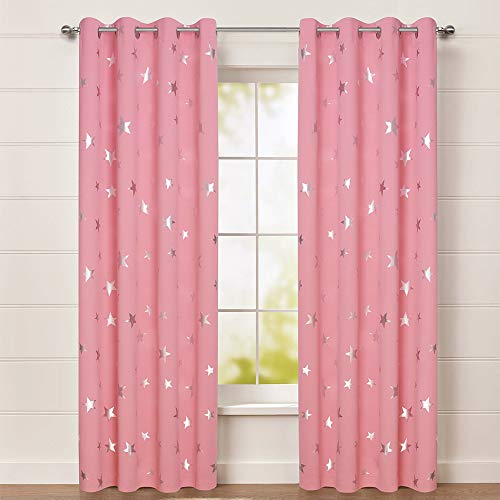 BUZIO Star Print Blackout Curtains for Kids Room and Game Room, Room Darkening Grommet Window Curtains for Naptime, 52 x 84 Inches, 2 Panels, Baby Pink