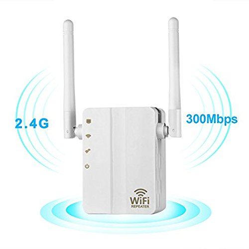 WiFi Range Extender, 300Mbps Fast Speed WiFi Booster Wireless Repeater with High Gain Dual External Antennas and 360 Degree WiFi Coverage-White