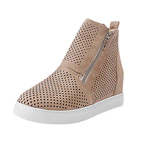 LYNStar✔ Women's Platform Sneakers Hidden Wedges Side Zipper Perforated Ankle Booties Casual High Top Sports Shoes Khaki ()