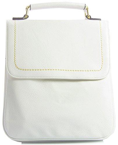 style Marron Shop Taille Big à Poches femme multiples Handbag Sac main Tan Blanc Medium pour sacoche S q55XOP