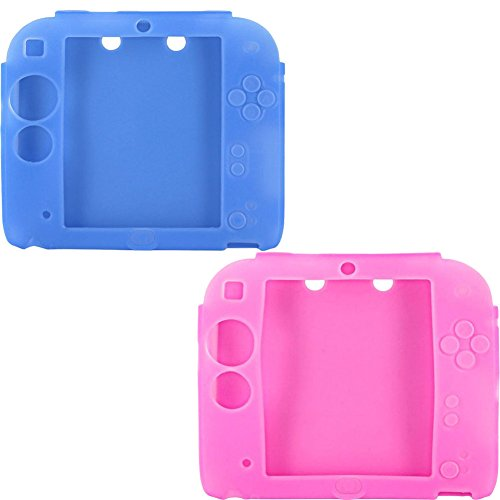 - Protective Soft Silicone Rubber Gel Skin Case Cover for Nintendo 2DS (Blue,Pink)